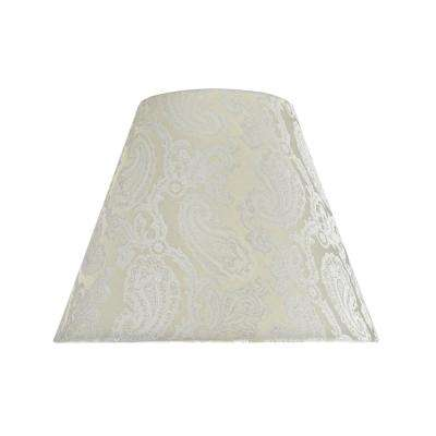 14 in. x 11 in. Taupe and Paisley Pattern Hardback Empire Lamp Shade