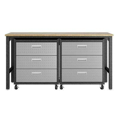 Fortress 37.6 in. H x 72.4 in. W x 20.5 in. D Space-Saving Steel Garage Cabinet Chests and Worktable in Grey (3-Piece)
