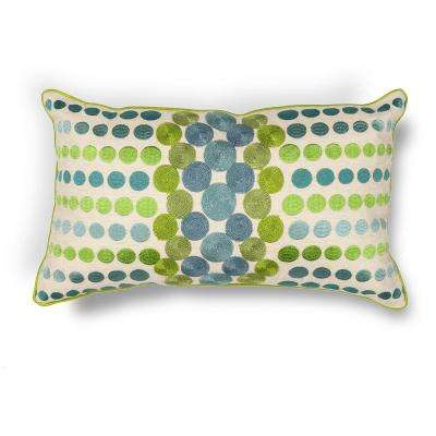 Blue/Green Circles 12 in. x 20 in. Decorative Pillow