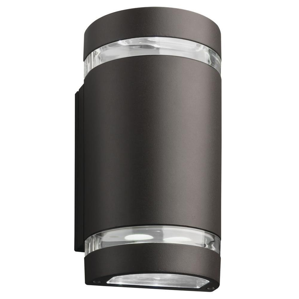 Lithonia Lighting Ollwu 2 Light Wall Mount Outdoor Bronze Integrated Led Sconce Cylinder Up