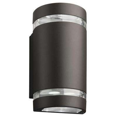 OLLWU 2-Light Wall Mount Outdoor Bronze Integrated LED Wall Sconce Cylinder Up and Downlight