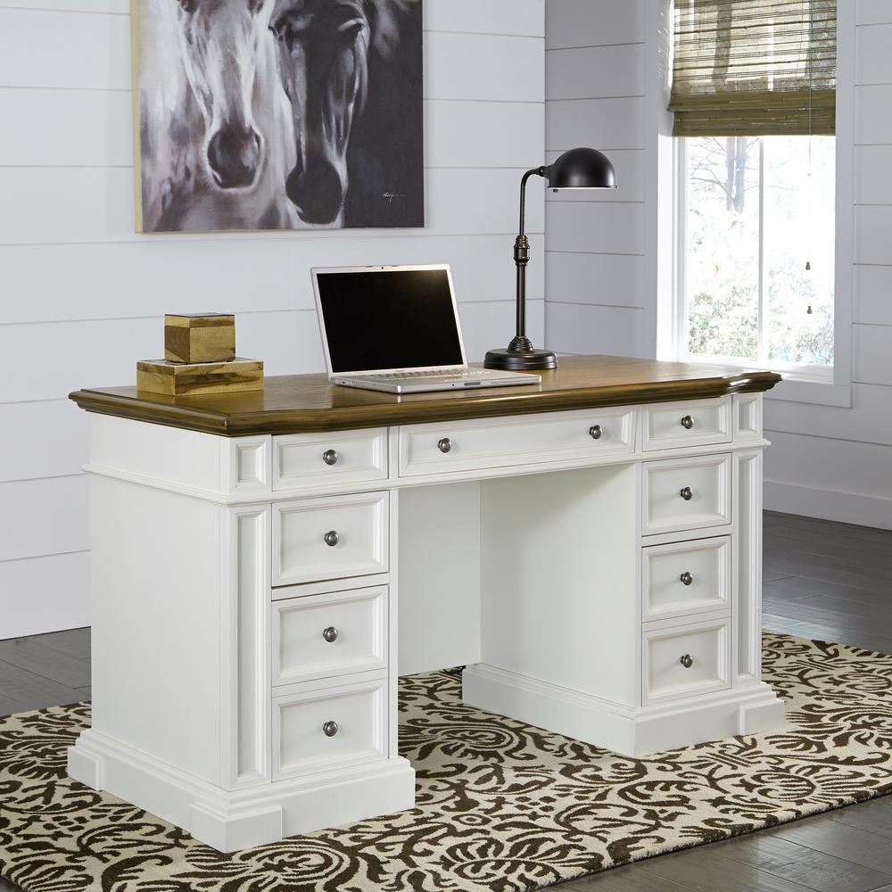 Americana White Desk With Storage