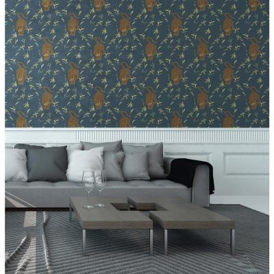 Nomad Collection Stalking Tiger in Black Moss Removable and Repositionable Wallpaper