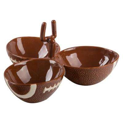 13 in. D 3-Sections Football Shaped Bowl