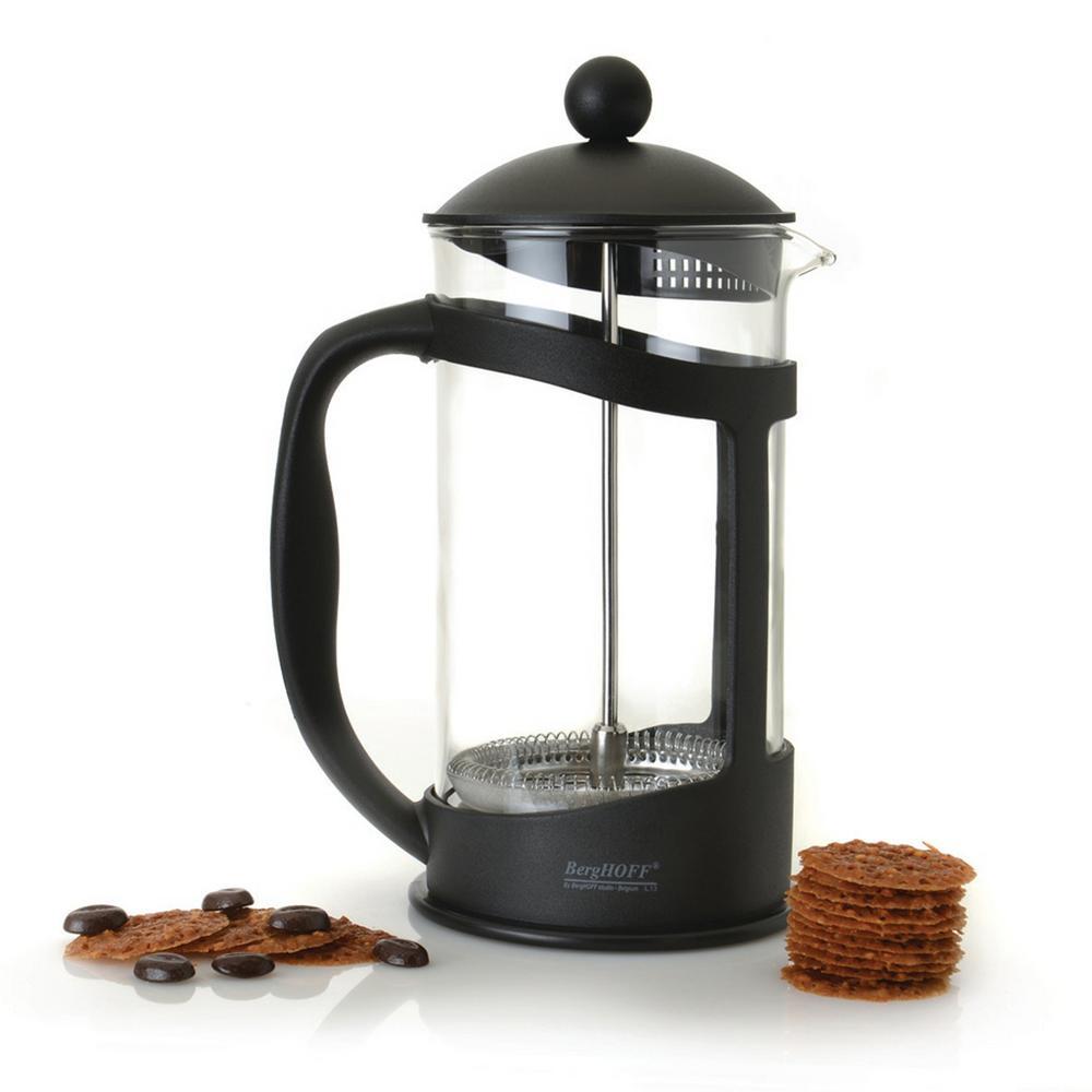 Studio 4.4-Cup Black Borosilicate Glass Coffee and Tea Plunger