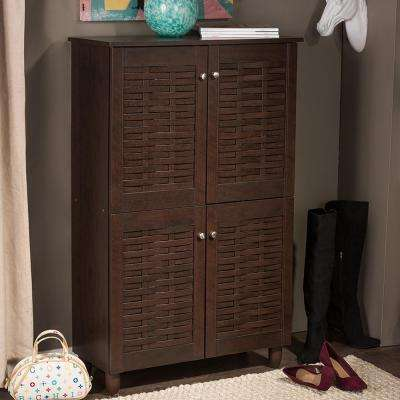 Winda Dark Brown Wood Tall Storage Cabinet