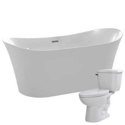 Eft 67 in. Acrylic Flatbottom Non-Whirlpool Bathtub with Kame 2-Piece 1.28 GPF Single Flush Toilet