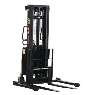 2,000 lb. Capacity 118 in. High Stacker with Powered Lift with Adjustable Forks Over Adjustable Support Legs