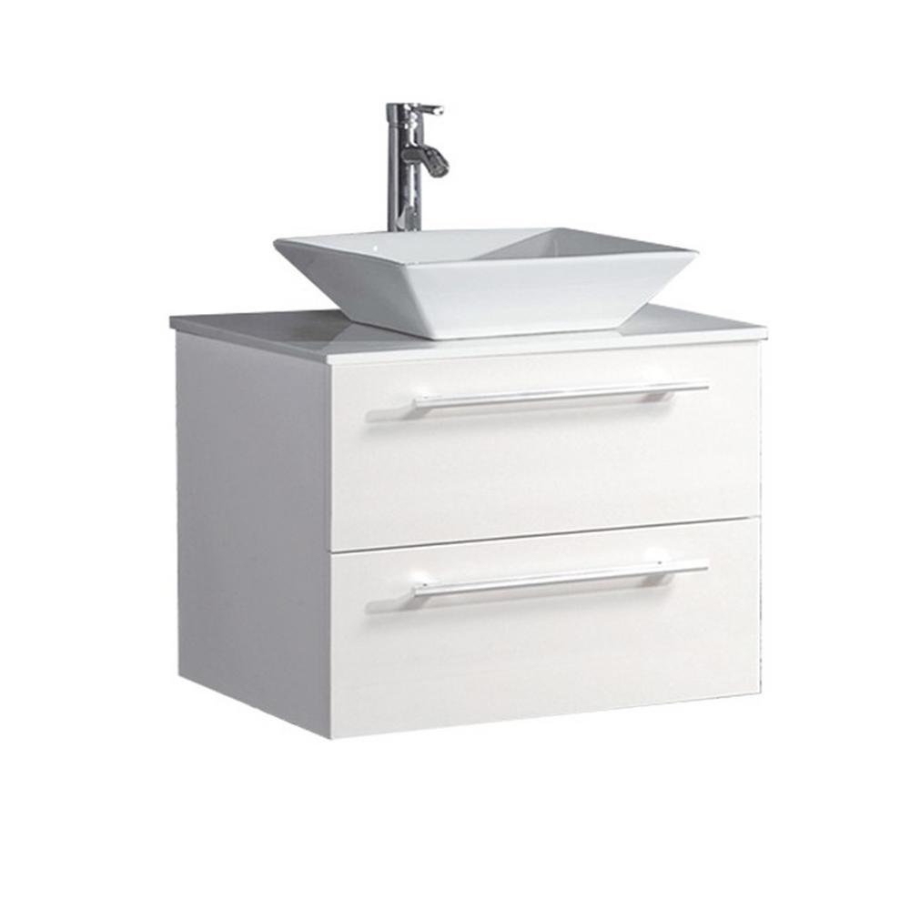 Mesina 24 in. W x 20 in. D x 20 in. H Floating Bath Vanity in White with Microstone Vanity Top in White with White Basin