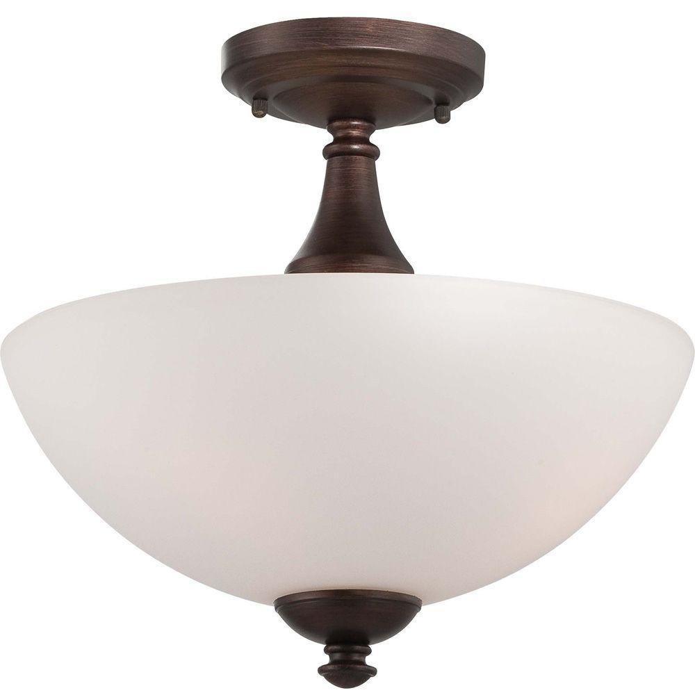 Elektra 3-Light Prairie Bronze Semi-Flush Mount Light with Frosted Glass