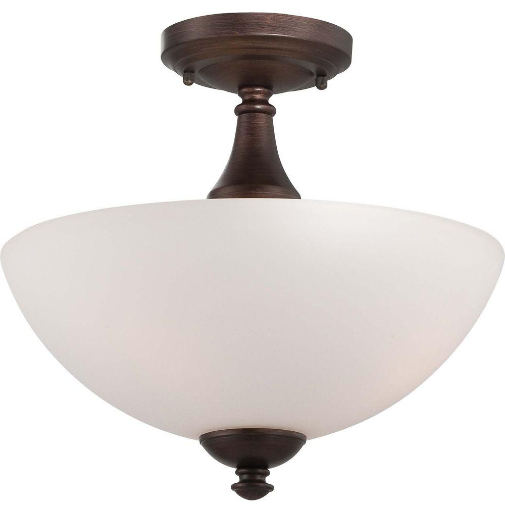 Illumine Elektra 3 Light Prairie Bronze Semi Flush Mount With Frosted Glass
