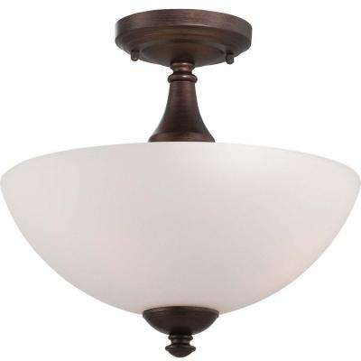 Elektra 3-Light Prairie Bronze Semi-Flush Mount Light with Frosted Glass