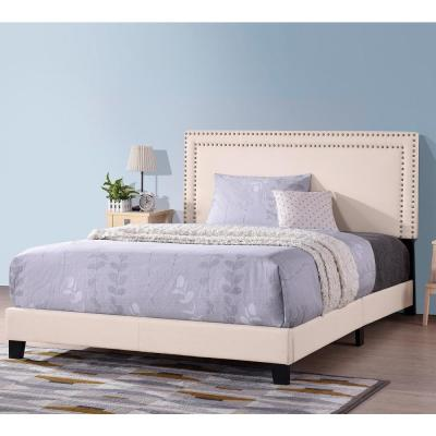 Beige Queen Size Upholstered Platform Bed with Nailhead