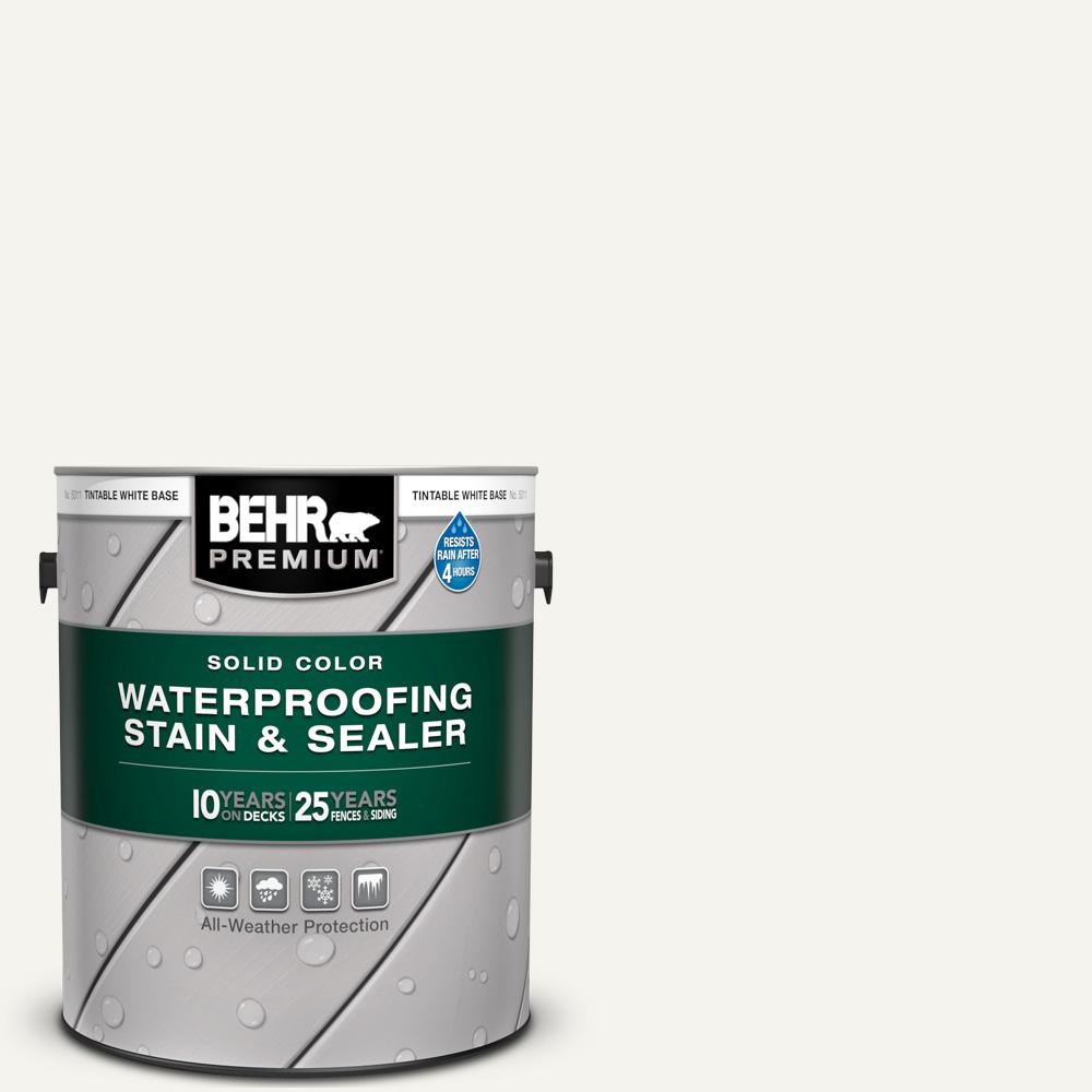 BEHR Premium 1 gal. #75 Polar Bear Solid Color Waterproofing Exterior Wood Stain and Sealer