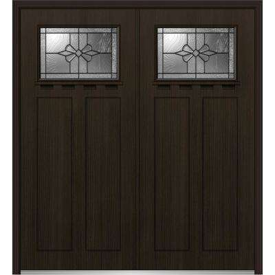 64 in. x 80 in. Dahlia Right-Hand Inswing 1/4-Lite Decorative Stained Fiberglass Fir Prehung Front Door with Shelf