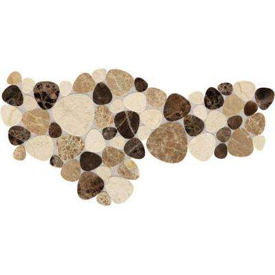 Fashion Accents Pebble Brown 12 in. x 12 in. x 9.5 mm Natural Stone Mosaic Floor and Wall Tile (1 sq. ft. / piece)