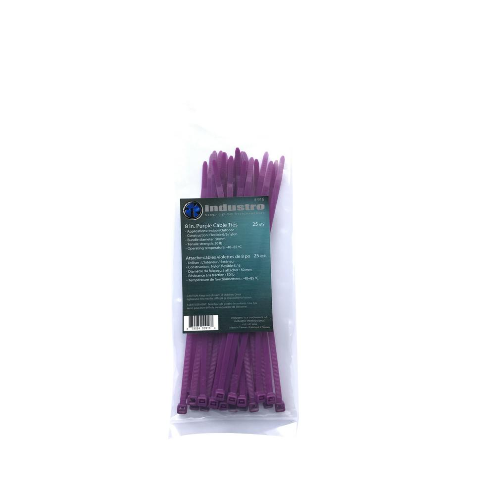 NEWCORPINTERNATIONAL NEWCORP INTERNATIONAL 8 in. Purple Cable Ties (25-Pack)