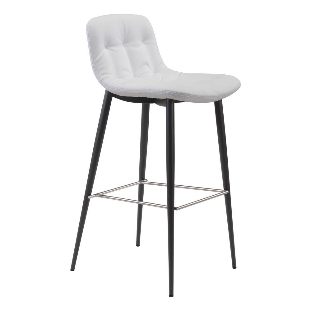 Zuo Wedge Bar Chair White Zuo Modern 300042 Set of 2