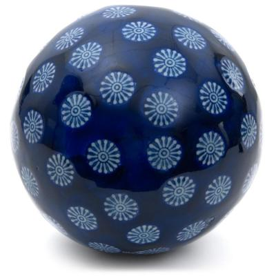 Oriental Furniture 6 in. Decorative Porcelain Ball - Blue with White Stars