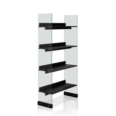 Furniture of America Almonte Black With Glass Panel Display Bookcase