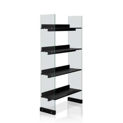 Almonte Black With Glass Panel Display Bookcase