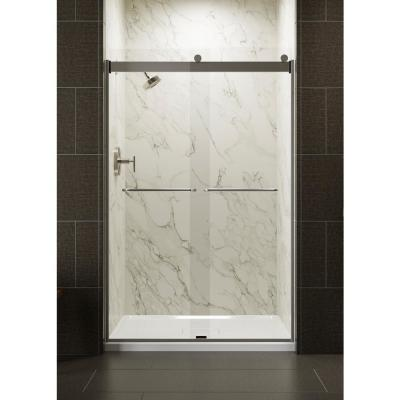 Levity 48 in. x 74 in. Semi-Frameless Sliding Shower Door in Nickel with Crystal Clear Glass and Handle