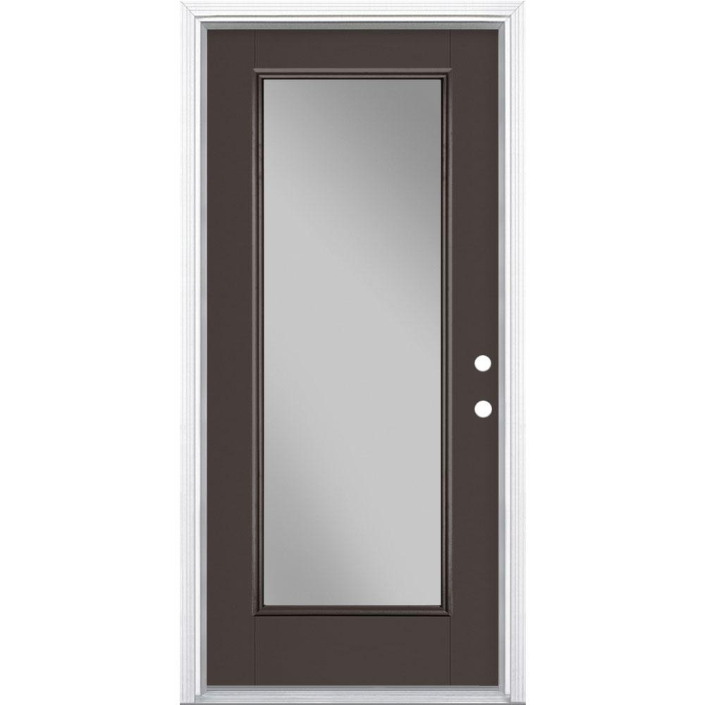 Masonite 36 in. x 80 in. Full Lite Left Hand Inswing Painted Smooth Fiberglass Prehung Front Door with Brickmold, Vinyl Frame