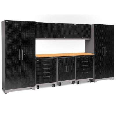 Performance Plus Diamond Plate 2.0 80 in. H x 161 in. W x 24 in. D Garage Cabinet Set in Black (9-Piece)