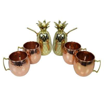 Handcrafted Six Piece Party Set 100% Copper 17 oz. Moscow Mule Cups and Two 16 oz. Brass Pineapple Cup Shakers, 6-Straws