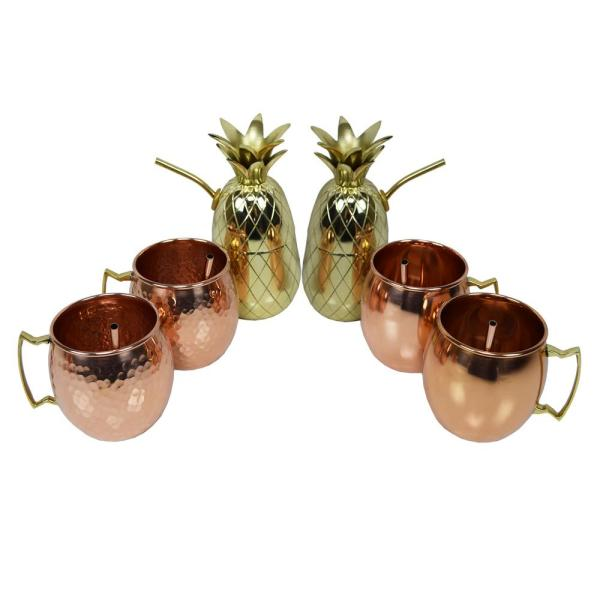 Oakland Living Handcrafted Six Piece Party Set 100% Copper 17 oz. Moscow Mule Cups and Two 16 oz. Brass Pineapple Cup Shakers, 6-Straws