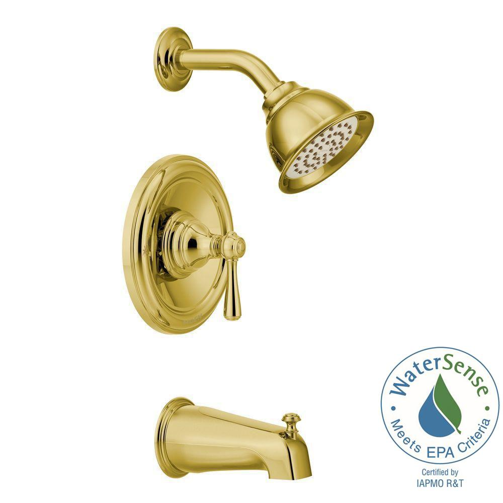 MOEN Kingsley Posi-Temp 1-Handle Tub and Shower Trim Kit in Polished Brass (Valve Not Included)
