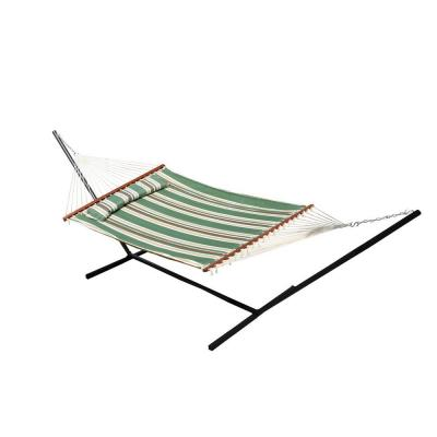 Nantucket 156 in. Quilted Cotton Reversible Double Hammock with Matching Pillow in Elm Green Stripe