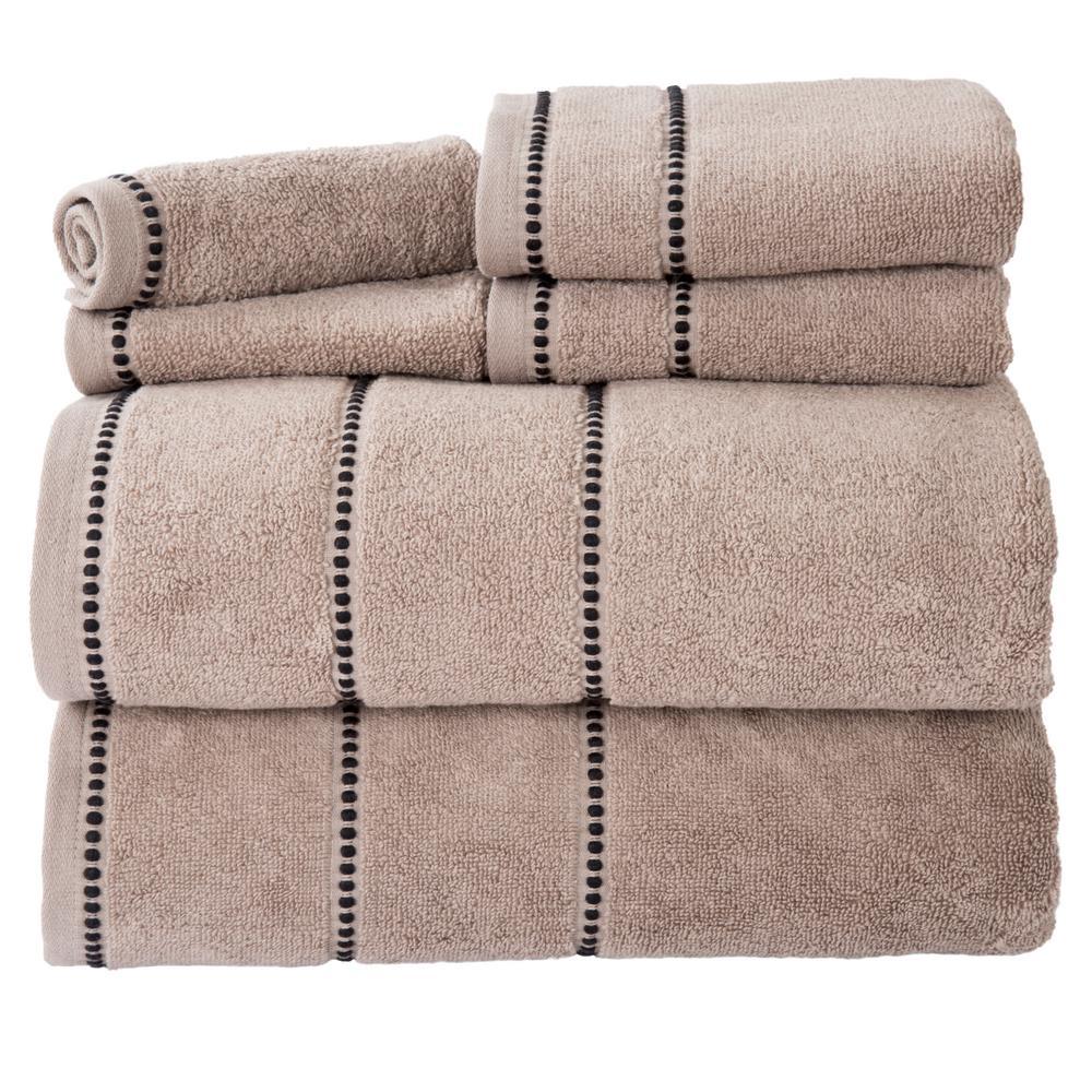 100% Cotton Zero Twist Quick Dry Towel Set in Taupe (6-Piece)