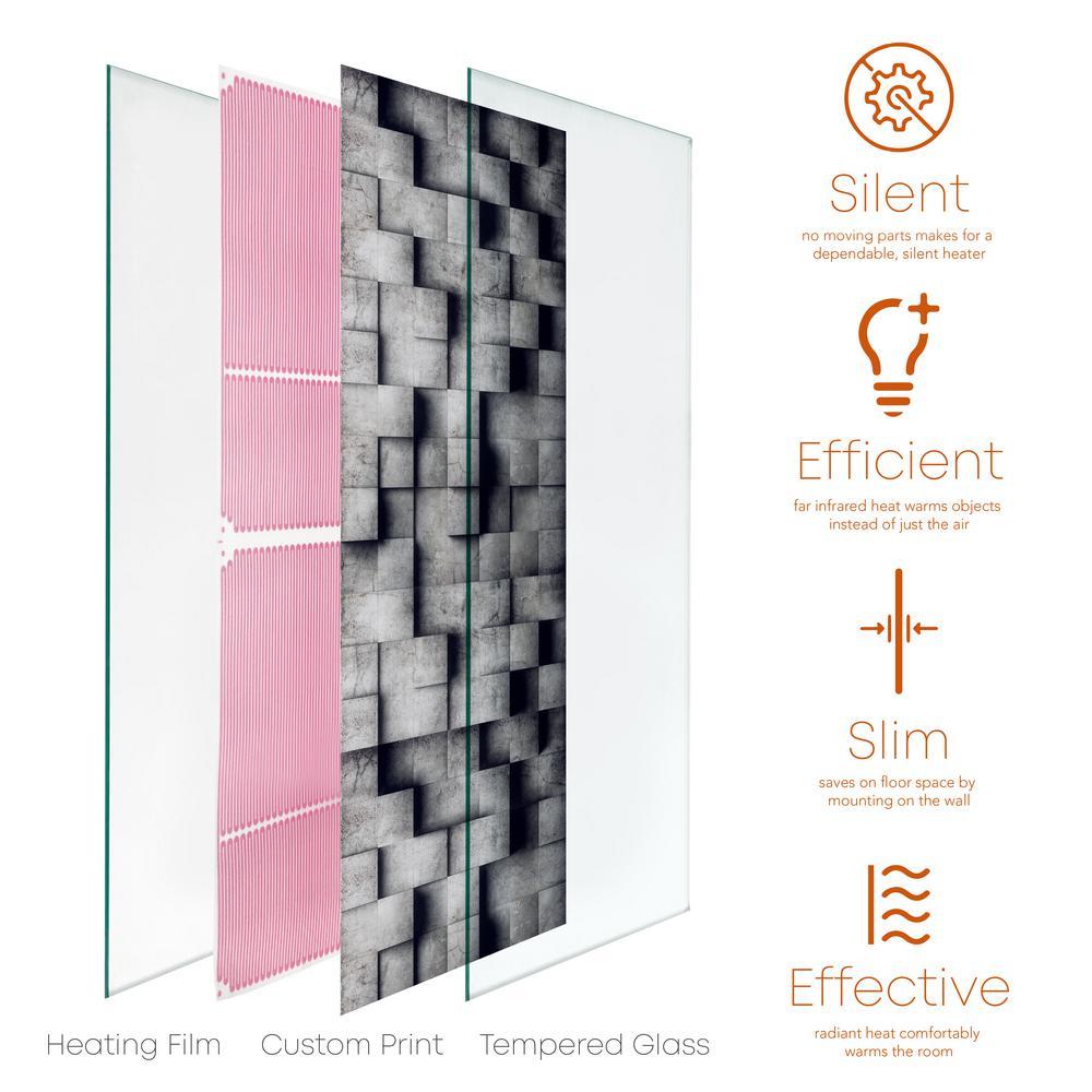 Glass Heater 750-Watt Radiant Wall Hanging Heat Panel with Decorative Artwork - Benton