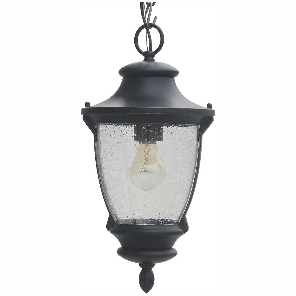 Home Decorators Collection Wilkerson 1-Light Black Outdoor Chain Hung Lantern