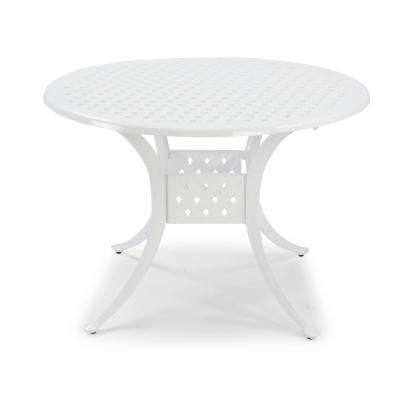 La Jolla Cast White Round Aluminum Outdoor Dining Table