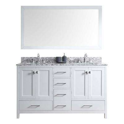 Caroline Madison 60 in. W Bath Vanity in White with Granite Vanity Top in Arctic White with Round Basin and Mirror