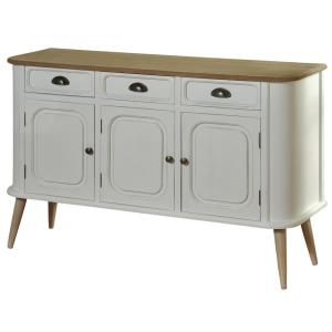 White Body And Natural Wood Top Legs 3 Drawer Door Firewood Cabinet