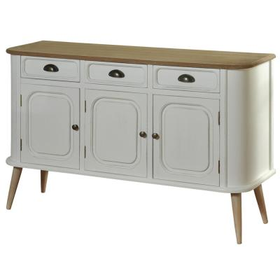 White Body and Natural Wood Top and Legs 3-Drawer 3-Door Firewood Cabinet
