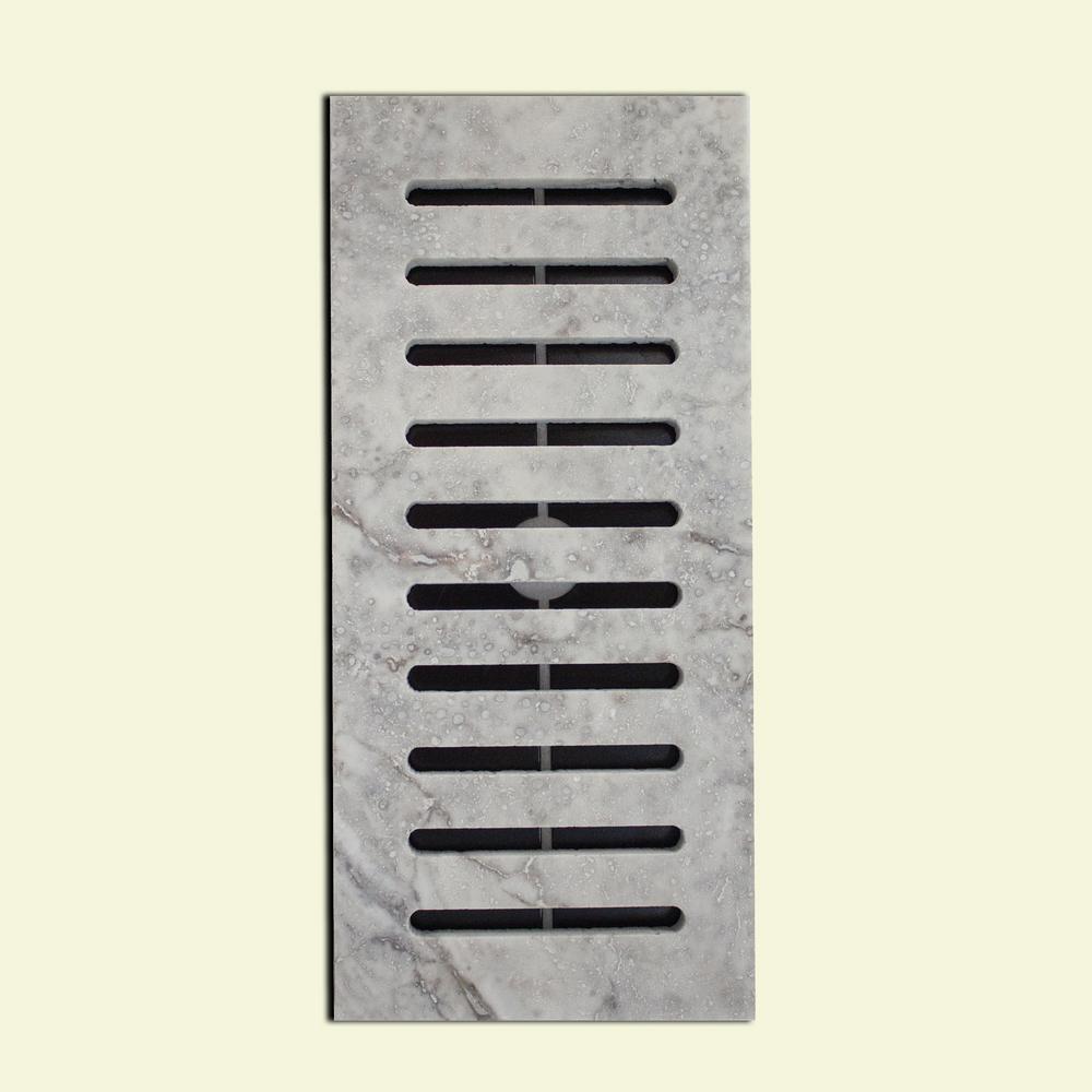 Made2Match Silver Honed Travertine 5 in. x 11 in. Floor Vent Register Tile Edging Trim