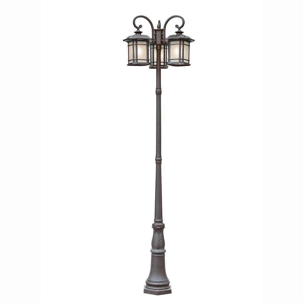 Bel Air Lighting Energy Saving 3-Light Outdoor Black Post Lantern with Tea Stained Linen Shade