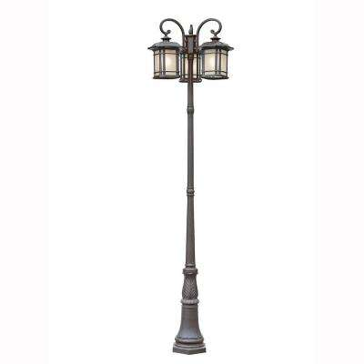 Energy Saving 3-Light Outdoor Black Post Lantern with Tea Stained Linen Shade