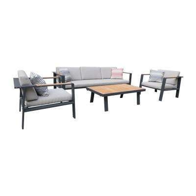 Nofi Gray 4-Piece Aluminum Patio Seating Set with Taupe Cushions