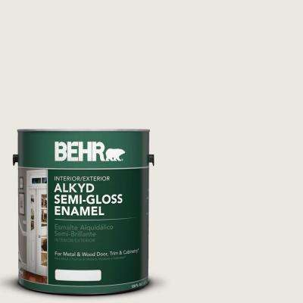 1 gal. #AE-37 Snow Dust Semi-Gloss Enamel Alkyd Interior/Exterior Paint