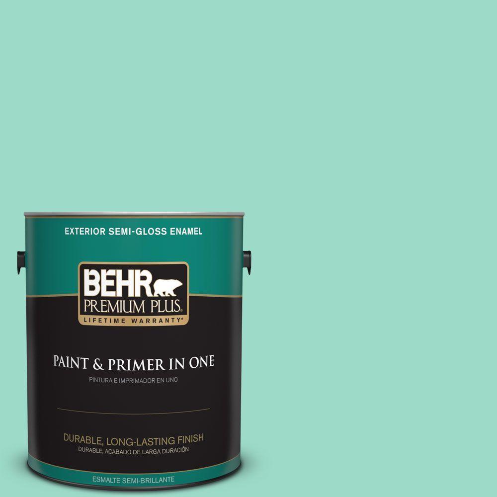 1 gal. #HDC-SP16-07 Isabella's Aqua Semi-Gloss Enamel Exterior Paint