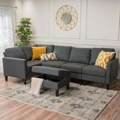 6-Piece Dark Gray Fabric Sectional and Ottoman Set