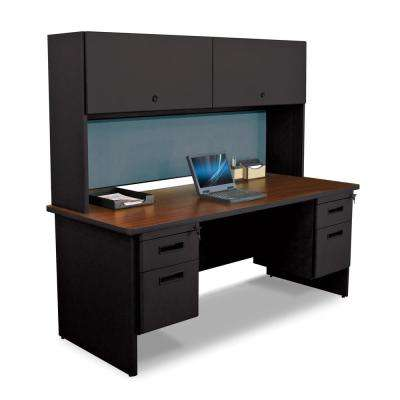 72 in. W x 30 in. D Oak Laminate, Black and Beryl Fabric 72 in. Double File Desk with Flipper Do or Cabinet