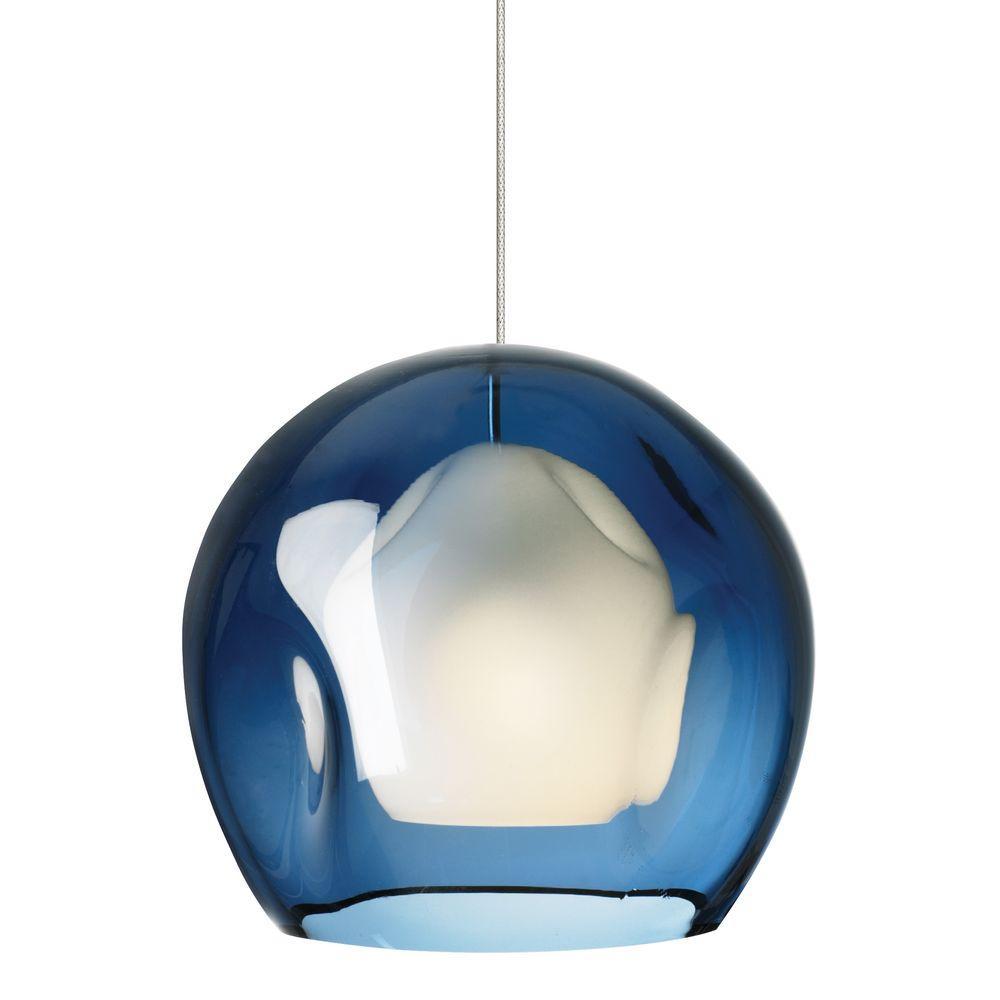 Mini-Jasper 1-Light Satin Nickel Steel Blue Xenon Hanging Mini Pendant