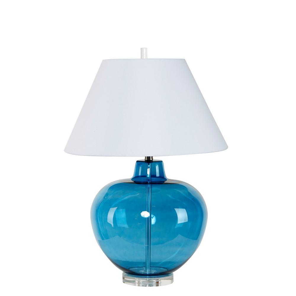 Dani 29.5 in. Blue Glass Table Lamp