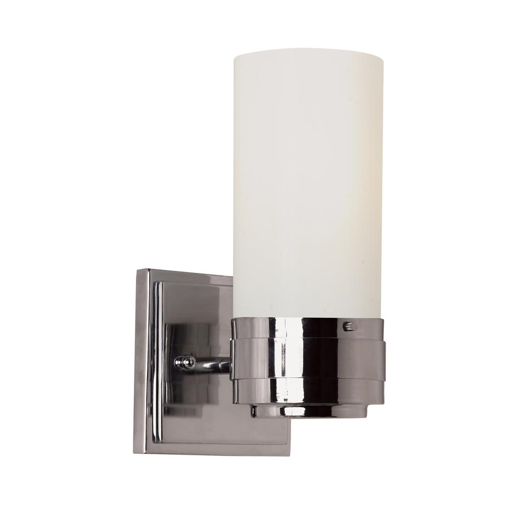 Fusion 1-Light Brushed Nickel Wall Sconce with Opal Glass